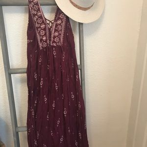 Maroon lace up front maxi